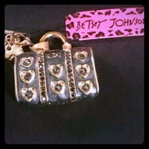 Betsey Johnson Black Handbag Necklace